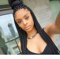 Wholesale african american braiding hair resale online - African American Braided Wigs With Baby Hair Synthetic Heat Resistant Fiber Hair Lacefront Glueless Braid Lace Front Wig For Black Women