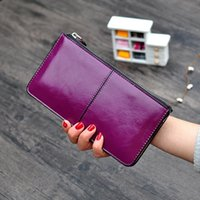 Wholesale woman design hand bag resale online - Women Wallets Candy Oil Leather Wallet Long Design Day Clutch Casual Lady Cash Purse Women Hand Bag Carteira lady phone bag