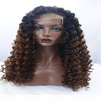 Wholesale ombre synthetic kinky curly wigs for sale - Group buy LACE FRONT DLME Natural babyhair bleach knots ombre brown color afro kinky curly wigs mixed short synthetic hair lace front wig