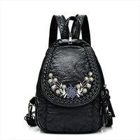 Wholesale bag packs resale online - Embroidery Flowers Women Backpack Small Soft Pu Leather Backpacks For Girls Teenagers Female Shoulder Bag Chest Pack Black bolsa