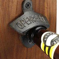 Wholesale wall mount beer bottle openers resale online - Hot Sales Chic Vintage Antique Iron Wall Mounted Bar Beer Glass Bottle Cap Opener Kitchen Tools Bottle Opener Opener Without Srew GWF3307