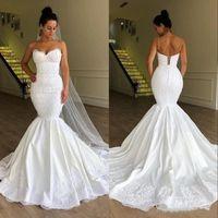 Sexy Spaghetti Straps Wedding Dress Mermaid Corset Back Flower Pattern Lace Satin 2021 Stunning Bridal Gowns Customize Plus Size