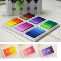 Wholesale inking pad for sale - Group buy Multi Color option Gradient Oil Based Ink pad Signet For Paper Wood Craft Rubber Stamp Fabric Durable
