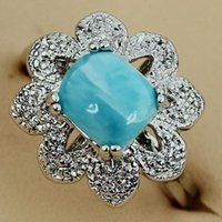 Wholesale women jewelery resale online - Fleure Esme Larimar Vintage Engagement Wedding rings jewelery for women accessories dropshipping Rhodium Plated R3532 size