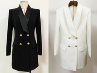 European and American autumn and winter office lady high-quality double-breasted slim suit dress