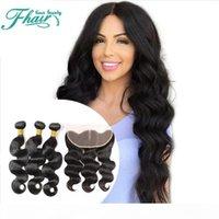 Wholesale 4pc weave hair resale online - 9A European Lace Frontal Closure With Bundles Unprocessed Human Hair Weave With X4 Lace Frontal quot quot Inch Length Hair Pc