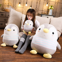 Wholesale penguin soft toys for sale - Group buy Fatty Stripe Penguin Plush Toy Stuffed The Antarctic Animals Grey Baby Family Penguins Soft Doll Kids Adults Comforting Gift Y1116