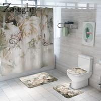 Floral Bath and Curtain Set Anti-slip Shower Bathroom Foot Rug Home Decoration Toilet Floor Mat 201119