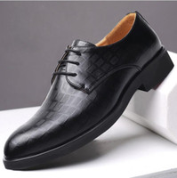 Wholesale wide dress shoes men resale online - Classic Man Pointed Toe Dress Shoes Mens Patent Leather Black Wedding Shoes Formal Prom Party Shoes Big Size Fashion Drop Shipping