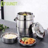 GUNOT Portable Large Capacity Thermal Lunch Box Stainless Steel Food Container Leakproof Bento Box Lunchbox For Office Camping T200902