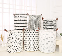 INS Laundry Baskets Kids Toys Storage Basket Foldable Dirty Clothing Bucket Waterproof Laundries Bag Polka Dot Cactus 55 Styles YWY2470