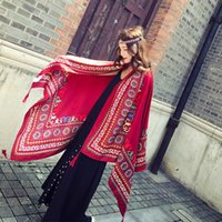 Wholesale shawl spain resale online - KYQIAO Ethnic scarf women winter scarf female autumn Spain style boho original long red print muffler cape shawl