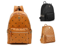 Leather Handbags High Quality 2 size men and women School Backpack famous Rivet printing Backpack Designer lady Bags Boy and Girl back pack