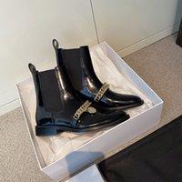 Wholesale gold chain boots for sale - Group buy Women s Shoes Paris Black Genuine Leather Chain Boots Elastic Gusset Gold Metal Chain Paris Medallion Boots