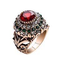 Wholesale ruby roses resale online - 14K Rose Gold Ruby Topaz Diamond Ring for Women Fashion Bizuteria Agate Jade Gemstone Ruby Wedding Ring with Box Jewelry