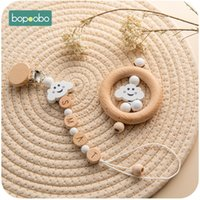 Wholesale baby food pacifier resale online - Bopoobo set Wooden Cloud Teether Pacifier Chain Food Grade Baby Rattle SootherBaby Bracelet Baby Cart Accessories Teether Set Z1124