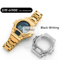Watchbands And Bezel For DW-6900 Series 316L Stainless Steel Metal Case Strap Modified Watch Accessories With Black Characters LJ201125