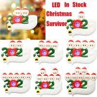 Wholesale LED Christmas Personalized Quarantine Ornaments Toys Survivor to Family Tree Lighting Decorations Xmas Party Favor Mask Gifts Toys