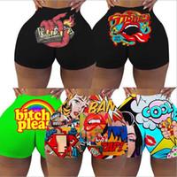 S-XXL Women Breathable Candy Shorts Yoga Running Gym Bodycon Mini Short Printed Sexy Club Fitness Skinny Tight