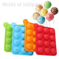 Discount stick lollipop mold 12 Slots Silicone Lollipop Mould Cake Candy Cookie Mold Cupcake Lollipop Sticks Tray Stick Chocolate Soap DIY Mould Baking Tool