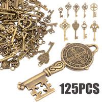 Wholesale antique compass pendant for sale - Group buy 125pcs set Creative Vintage Antique Bronze Skeleton Keys Fancy Heart Bow Pendant Necklace Hanging Decor Old Look Diy Craft Retro