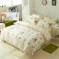 Wholesale girls princess bedding sets for sale - Group buy Chic Vintage Floral Duvet Cover with Ruffles Bed Sheet Set Elegant Princess Girls Cotton Soft Twin Queen King Bedding sets