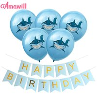 Wholesale baby boy shark resale online - Amawill Shark Theme Party Supplies Latex Balloons Under The Sea Party Baby Shower Boys Happy Birthday Party Decorations d wmtMot