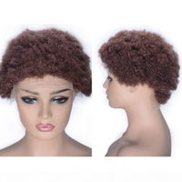 Wholesale hair human caps resale online - Afro Kinky Curly Lace Front Wigs Cambodian Human Hair Wigs Short Hair Wig for Black Women Medium Size Cap