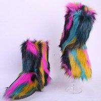 Wholesale imitation boots resale online - New Women s Outdoor Snow Boots Imitation Fur Cotton Boots Fashion Ladies Warm Cold Proof Plush Faux Fur Shoes Girl Furry