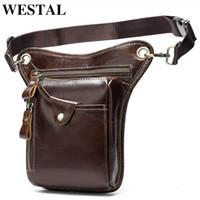 Wholesale leather leg for sale - Group buy WESTAL Men s Belt Leg Bags Genuine Leather Motorcycle Leg Drop Bag Men Waist Bags Male Fanny Pack Thigh Bag Money Belt Pouch