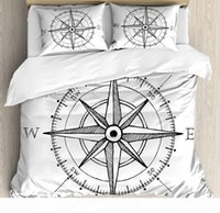 Wholesale compass drawing resale online - Compass Duvet Cover Set Hand Drawn Compass Windrose North and South East West Directions Black and White Bedding Set Black White