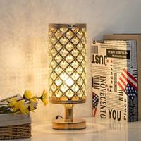 Wholesale table lamps resale online - 2020 Hot Sales crystal table lamp golden crystal desk lamps simple living room bedroom bedside night light