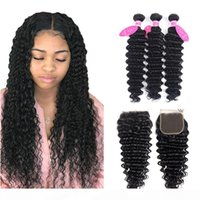 Wholesale remy human hair jet black resale online - Deep Wave Human Hair Bundles With Closure Brazilian Hair Weave Bundles With Closure Jet Black Remy Hair Extension
