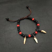Wholesale tooth bracelets resale online - New Arrival Fashion Handmade Statement Wolf Tooth Fangs Spike Amulet Bracelets Accessories Jewelry for Men
