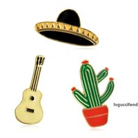Wholesale accessories for guitars resale online - Potted Cactus Guitar Planet Brooch For Children Backpack Alloy Badges Hard Enamel Pin Collection Jewelry Gift Bag Coat Denim Jean Accessory
