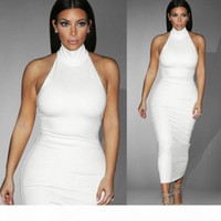Wholesale prom dresses stores resale online - 2016 Hot New White Kim Kardashian Evening Celebrity Dress In Store Real Image High Neck Sleeveless Prom Dress Tea Length Elegant Party Gown