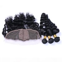 Wholesale silk based weave frontal closure for sale - Group buy Loose Wave x4 Silk Base Lace Frontal Closure With Human Hair Weaves A Brazilian Human Hair Bundles With Silk Top Frontals Loose Wave