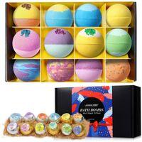 LAGUNAMOON 12Pcs Colorful Natural Bubble Bath Bomb Gift Set Multi Scented Aromas Dry Skin Moisturize Fizzies Spa Kit