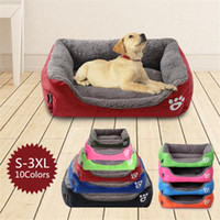 S-3XL Fleece Dog Bed Pattren Waterproof Bottom Pet Sofa Mat Warm Dog Beds For Large Dogs Dropshipping cama perro