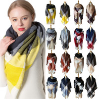 Wholesale gray winter scarf for sale - Group buy European and American Autumn and Winter New Yellow Gray Cashmere like Large Plaid Square Scarf Womens Large Double Sided Shawl Tonglu Manufa