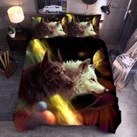 Wholesale boho bedding resale online - Bohemian style comforter bedding sets Wolf animal Duvet Cover Sets king size boho bedding cotton ropa de cama