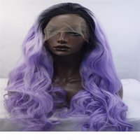 Wholesale hair grows resale online - kabell Fashion lave front wigs Synthetic lace front wig purple growing wave hands bound wig women Curly hair African American fashion wig