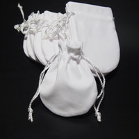 Jewelry Pouches Bags White Velvet For Pandora 925 Sterling Silver Charm Bead Bracelet Necklace Fashion