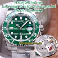 Wholesale stainless steel ss resale online - VSF Latest version Clean factory Green Bezel Green Dial VS3135 Automatic L Steel Case SS Bracelet Mens Watch eternity L