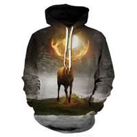 Discount long shields and new Emperor autumn shield Galaxy spring sun deer dazzling color men's D digital long sleeve Hooded Sweater