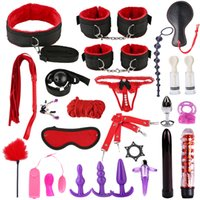 Wholesale bondage woman sex for sale - Group buy Sex Toys for Women Men Handcuffs Nipple Clamps Whip Spanking Rope Sex Silicone Metal Anal Plug Butt Bdsm Vibrator Bondage Set Q1126