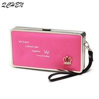 Wholesale korea phone holder for sale – best long Cute Crown Japan and South Korea Lunch Box Women s Clutch Phone Bag Card Holder hand strap Lady s wallet Q1117