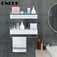 Discount decorative towel rack ONEUP Bathroom Storage Racks Wall Shelves Decorative For Kitchen Spices Shelf Towel Storage Rack Organizer Bathroom Accessories1