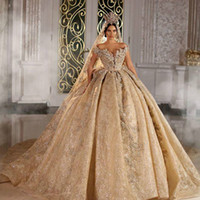 Wholesale lace wedding dresse resale online - 2021 Shinny Ball Gown Wedding Dresse Champagne Off Shoulder Luxury Crystal Beaded Saudi Arabian Dubai Bridal Gown Plus Size