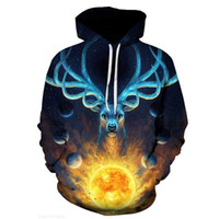 long shields 2021 - Galaxy Emperor shield spring and autumn new sun deer dazzling color men's 3D digital long sleeve Hooded Sweater